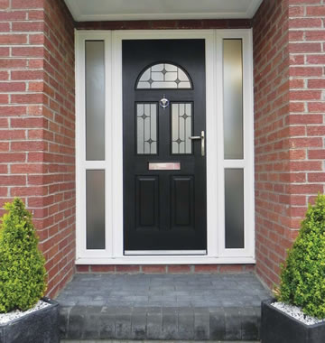 Black composite door with diamond glass design