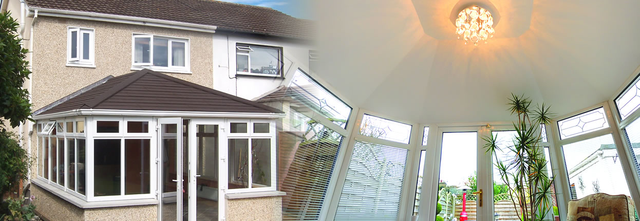 Tiled conservatory with plastered roof
