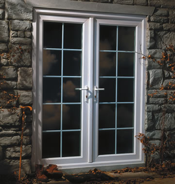 French double patio door in white uPVC-