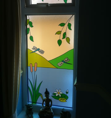 Stained glass window painted and customised