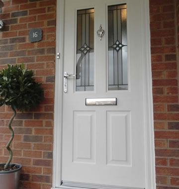 White composite door with stunning glass design
