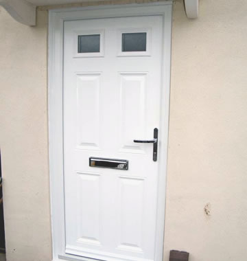 White composite front door