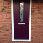 Aubergine composite entrance door installation
