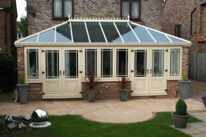 Large cream uPVC conservatory- coloured conservatories