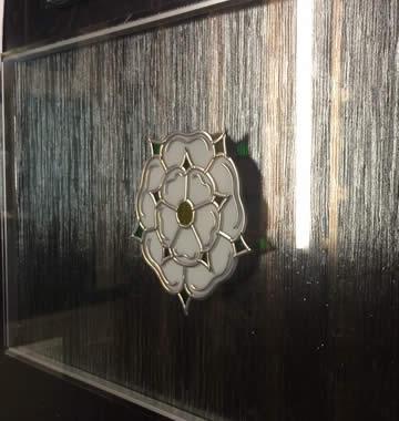 Custom textured glass panel for window