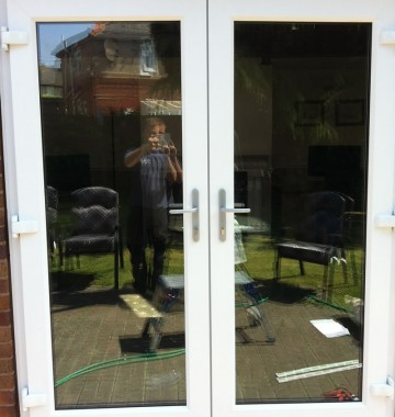 Double patio doors in uPVC material