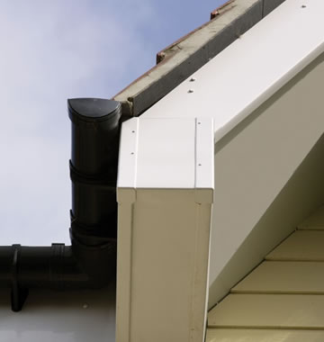 White uPVC fascia with black guttering