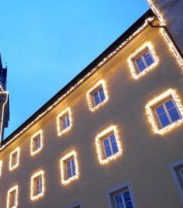 windows with Christmas lights