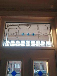 Leaded door frame glazing